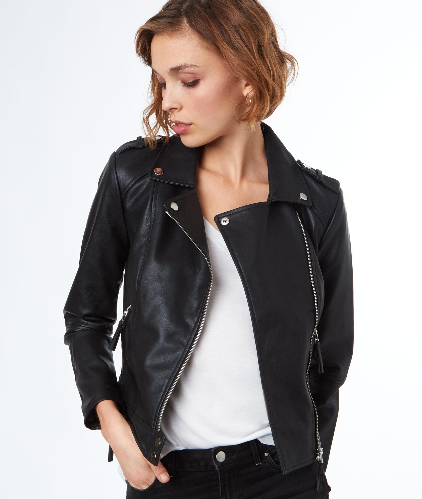 meilleures offres sur chaussures pour pas cher bas prix Blouson biker effet cuir - Vestes & manteaux - Prêt-à-porter - Outlet -  Outlet