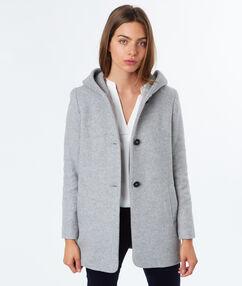 Manteau 3/4 à capuche gris clair.