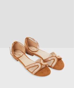 Sandales à paillettes jaune safran.