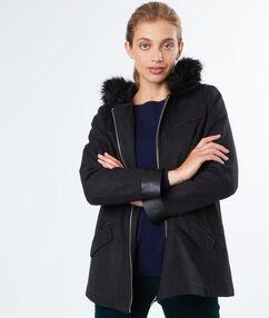 Manteau à capuche fausse fourrure gris chine fonce.