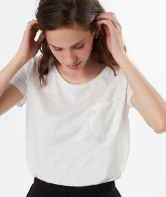 T-shirt manches courtes avec poche en coton ecru.