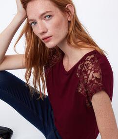 T-shirt empiècement dentelle anemone.
