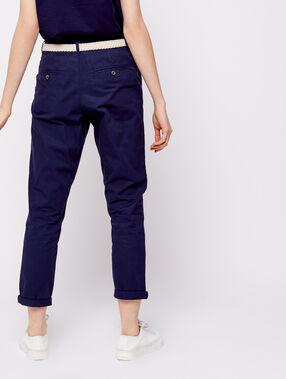 Pantalon court ceinturé en coton bio marine.