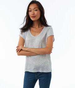 T-shirt en lin col v bleu astral.