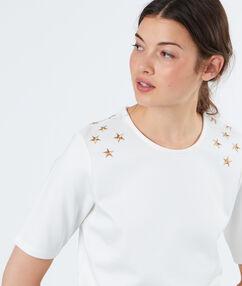 T-shirt étoiles brodées aux épaules blanc.