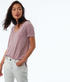 T-shirt met metallic weefseldetail paars.