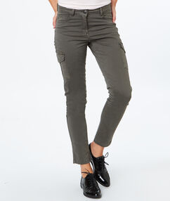 Slim en coton poches latérales kaki.