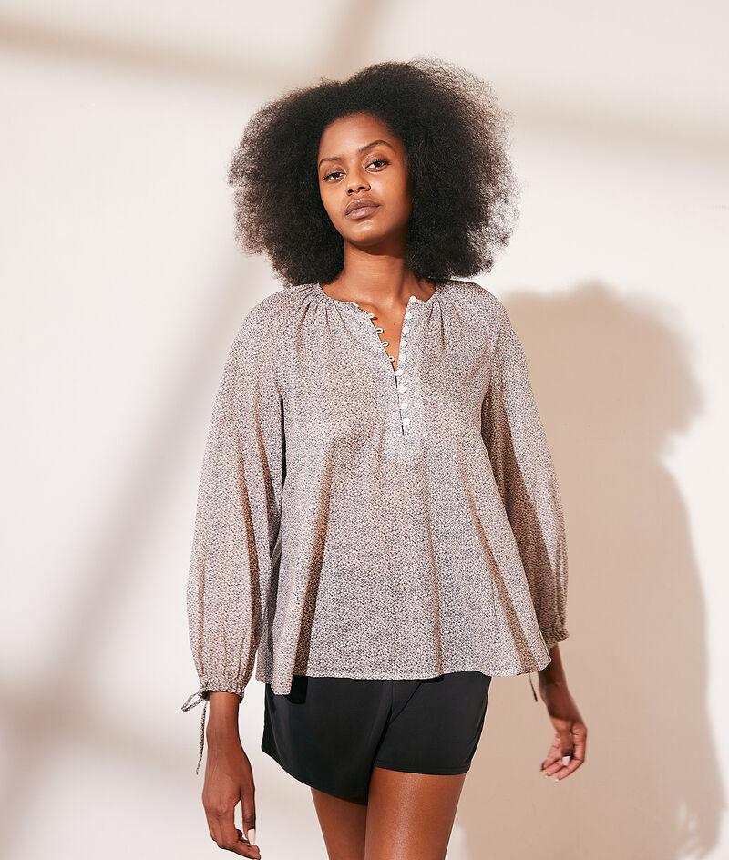 Katoenen blouse met print en kraag met knopenrij