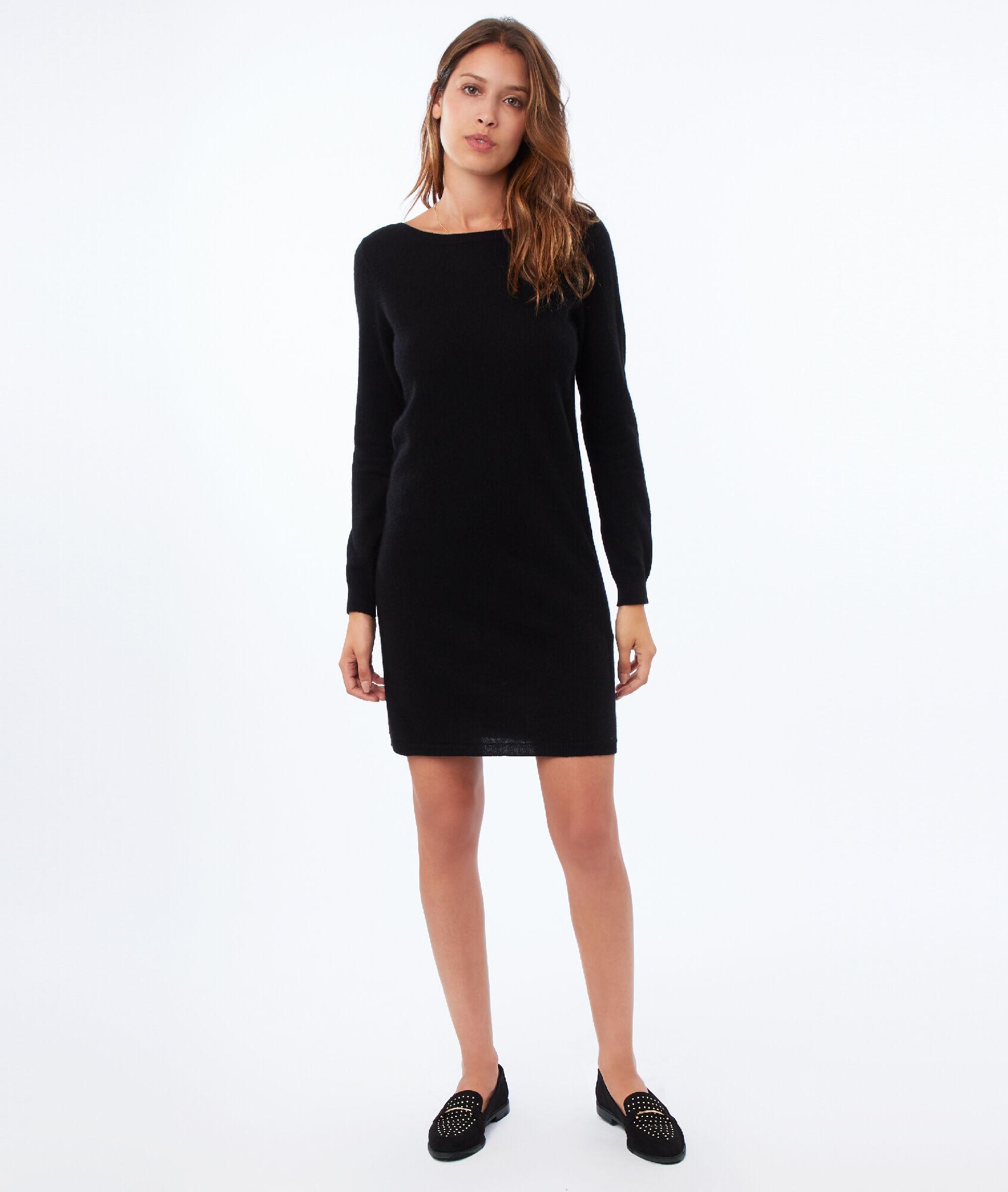 hot-vente plus récent dernier style grandes variétés Robe pull 100% cachemire - VENUS - NOIR - Etam