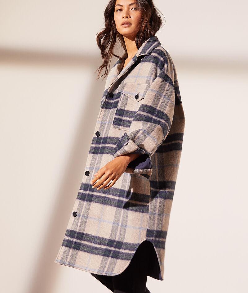Halflange geruite mantel