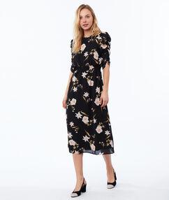 Robe longue à fleurs noir.