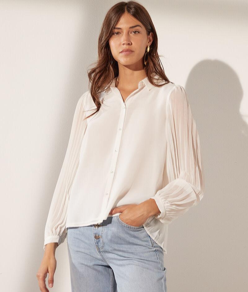 Hemd met geplisseerde mouwen