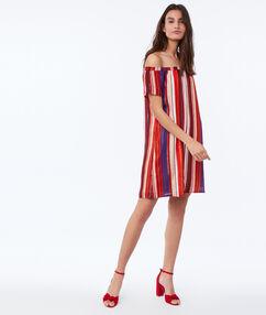 Off-the-shoulder jurk met print oranje.