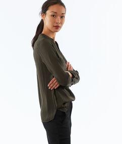 Jacquard blouse met tuniekkraag groen.