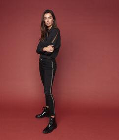 Jean skinny bande côté noir.