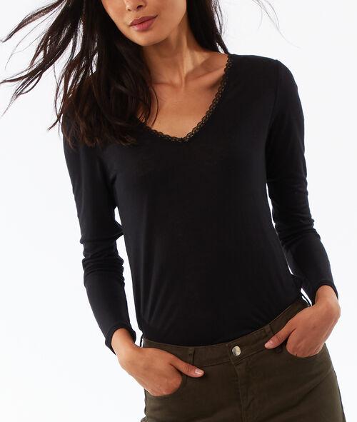 T-shirt manches longues col v Etam Etam SOLDES - Prix minis et Bonnes Affaires > SOLDES PRET-A-PORTER > Tops & T-shirts