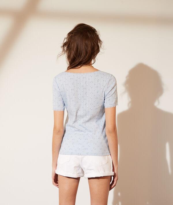 Pointelle T-shirt van biokatoen met kanten details