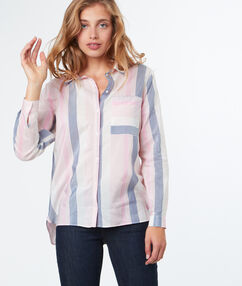 Chemise color block pastel ecru.