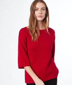 Pull manches 3/4 rouge.