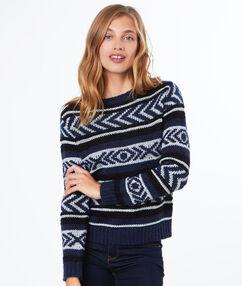 Pull tricot à base de mohair bleu marine.