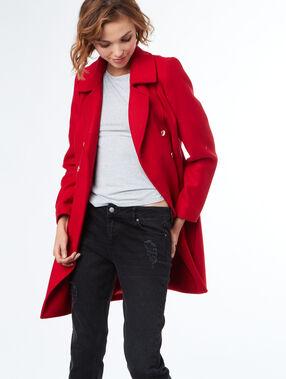 Manteau en laine avec col tailleur rouge.