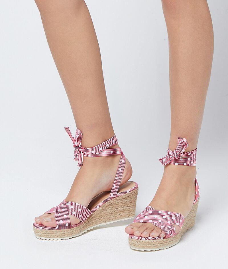 Sandales compensées à pois