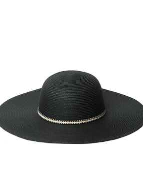 Chapeau de paille, élastique fantaisie noir.