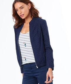 Veste avec zip en coton bleu marine.
