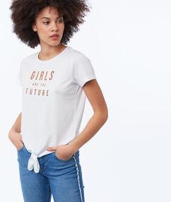 Geknoopt t-shirt met opdruk vooraan wit.