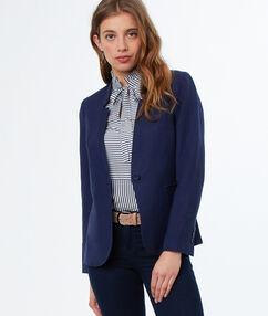 Veste de tailleur en lin bleu marine.
