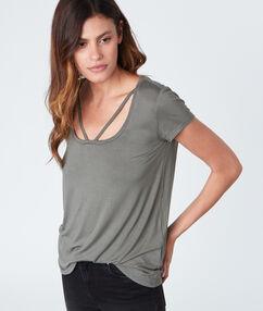 T-shirt fluide manches courtes gris.