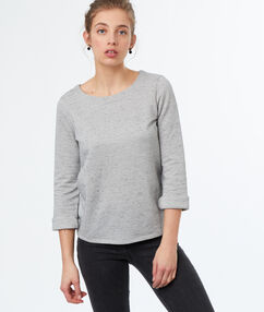 Sweat manches 3/4 gris clair.