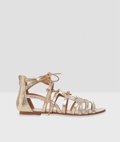 Sandales paillettes doré.