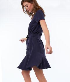 Eenkleurige jurk met riem, in tencel® blauw.