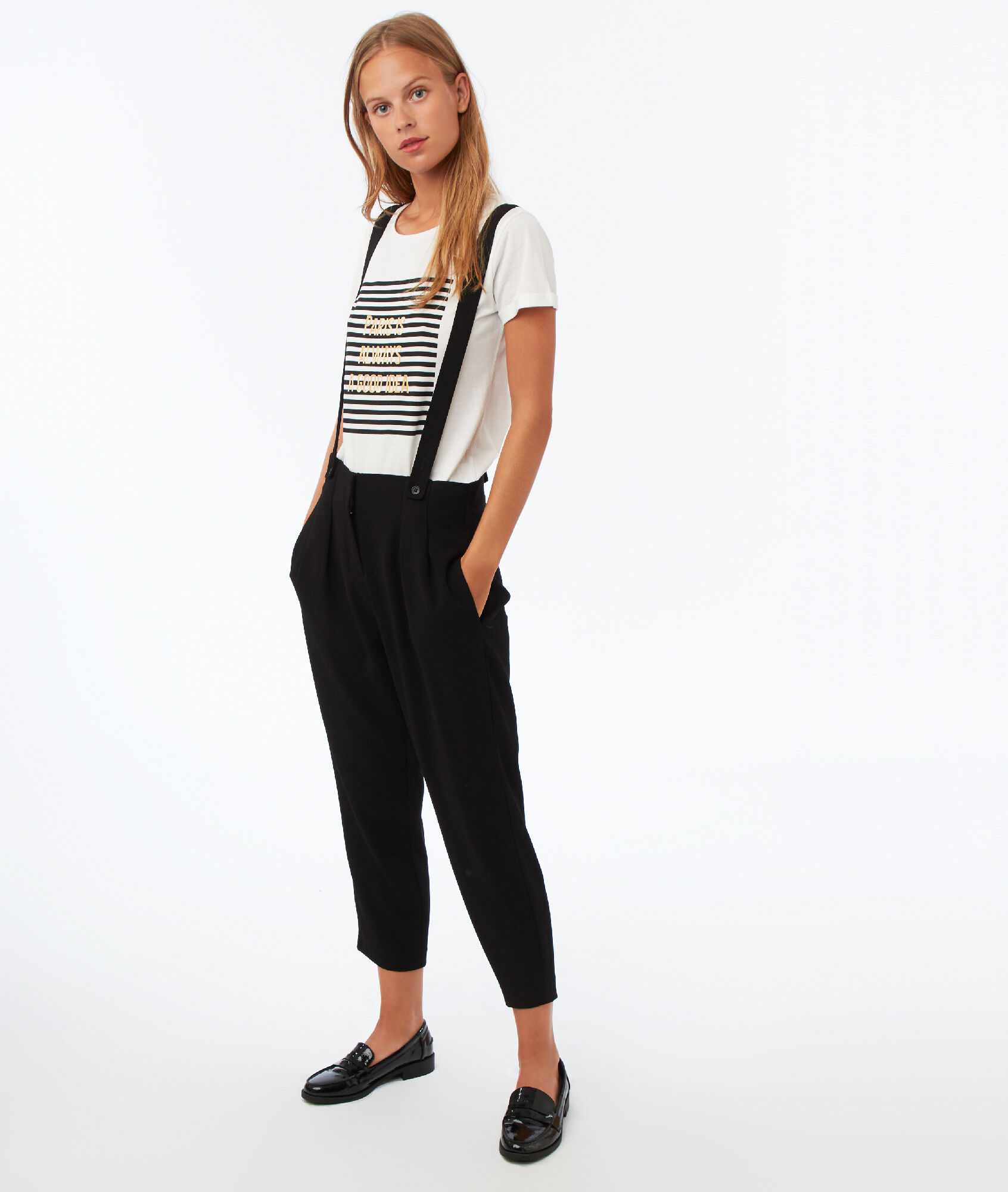 pantalon bretelles amovibles taille haute stripa noir. Black Bedroom Furniture Sets. Home Design Ideas