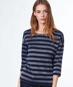 Gestreepte t-shirt met ¾ mouwen marineblauw.