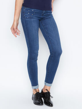 Jean slim détail clous denim.