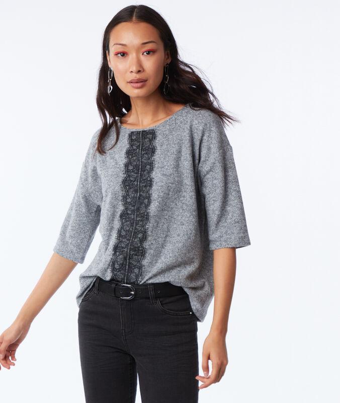 T-shirt manches 3/4 avec empiècement dentelle gris chine moyen.