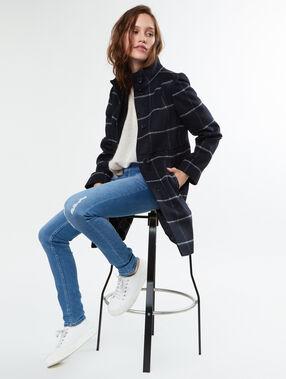 Manteau 3/4 imprimé carreaux en laine mélangée bleu marine.