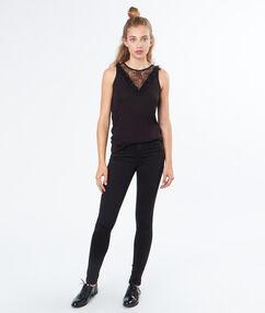 Pantalon slim coton majoritaire noir.