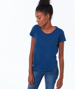 Katoenen t-shirt met ronde hals blauw.
