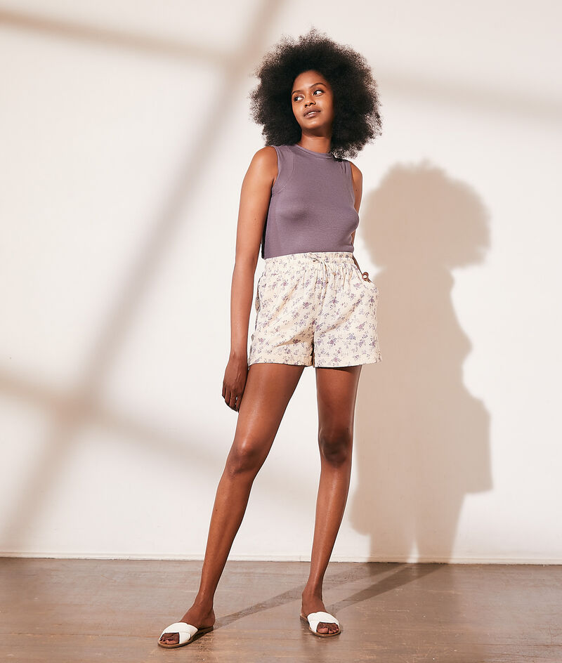 Shorts van katoengaas met bloemenprint
