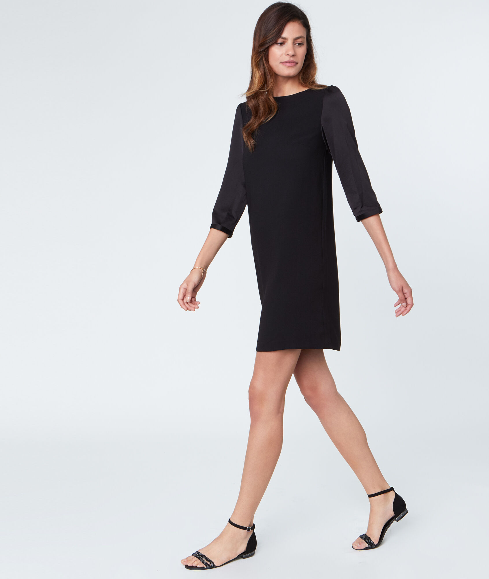 robe noire manches 3 4. Black Bedroom Furniture Sets. Home Design Ideas