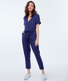 Combinaison avec ceinture en tencel® bleu indigo.