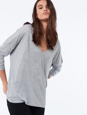 T-shirt col v manches longues gris chine fonce.