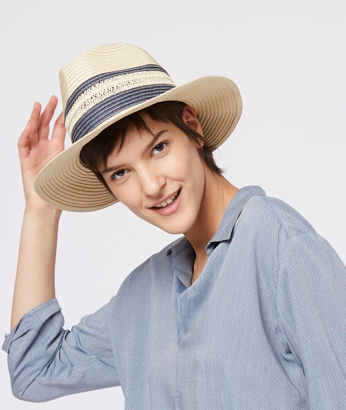 Chapeau effet paille avec rayures Etam Etam Prêt-à-porter > LES ACCESSOIRES > Chapeaux