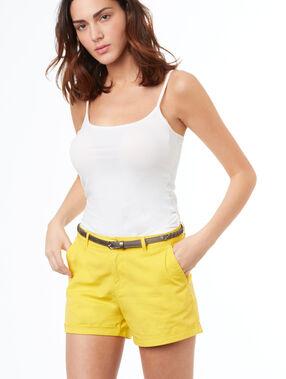Katoenen short met riempje geel.