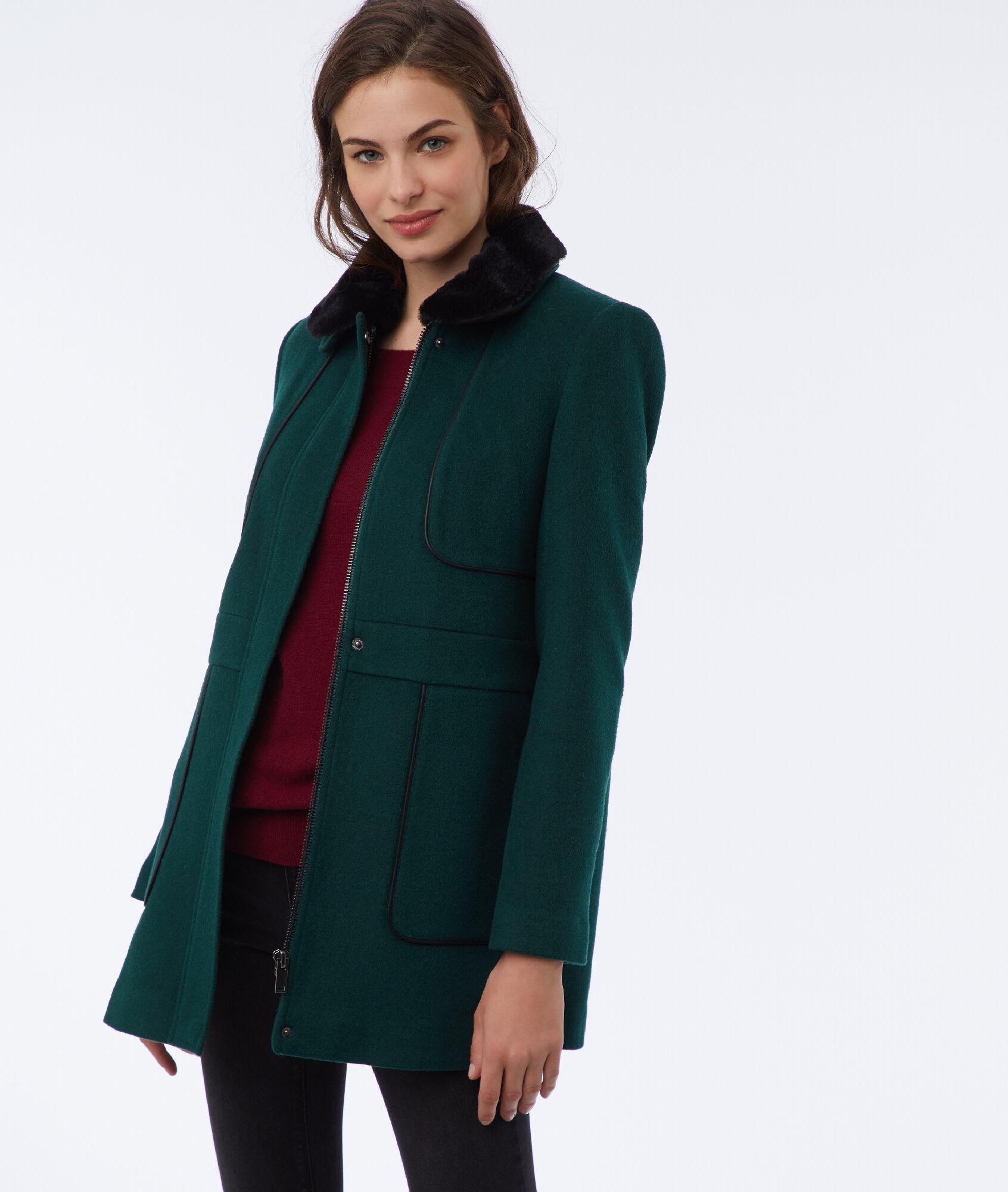 a69a12149818 Manteau avec col amovible - PAULINE - FORET - Etam