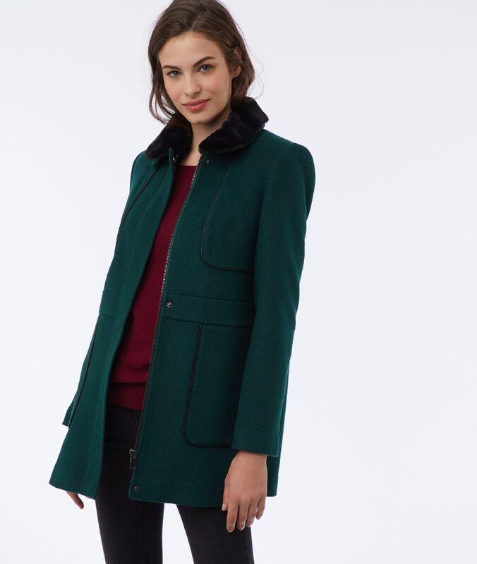 Manteau avec col amovible foret.