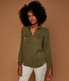 Effen blouse in tencel® groen.